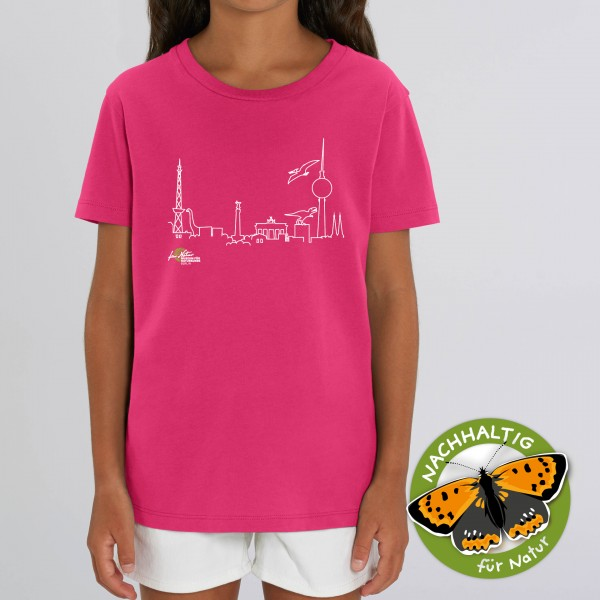 Kids Shirt Dino-Skyline Rasberry
