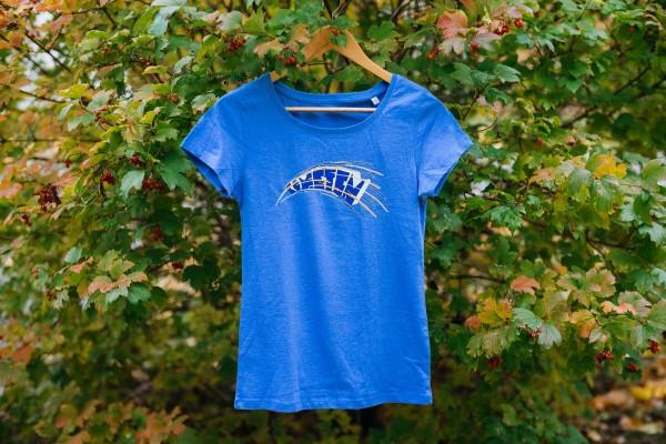 Lady-Shirt Kometen Glow Blau