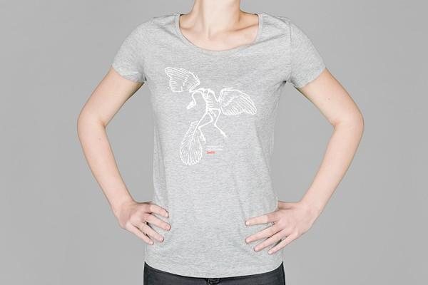 T-Shirt Dinosaurier Archaeopteryx Damen Graumeliert