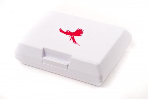 Brotdose Ara fliegend weiß