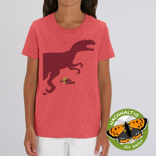 Kids Shirt Dino-Silouhette Allosaurus Mid heather red