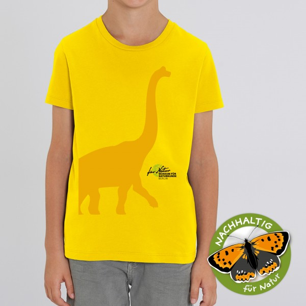 Kids Shirt Dino-Silhouette Brachio Golden yellow