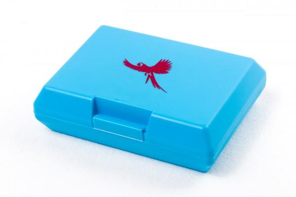 Brotdose Ara fliegend blau