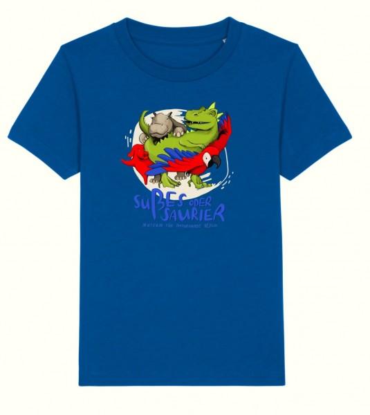 Kinder T-Shirt Süßes oder Saurier blau