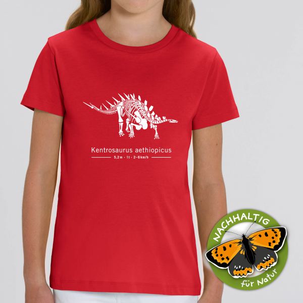 Kinder T-Shirt Kentrosaurus Bio Baumwolle rot