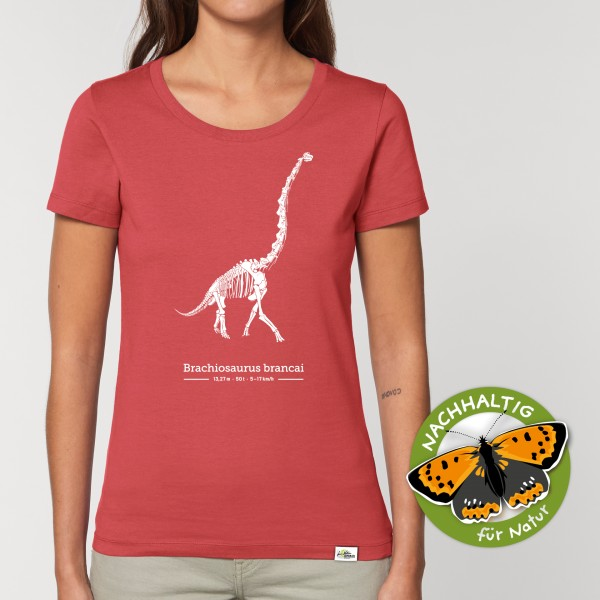 Damen T-Shirt Carmine red Brachiosaurus