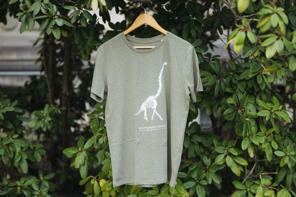 T-Shirt Brachiosaurus Skelett Khaki-Grün
