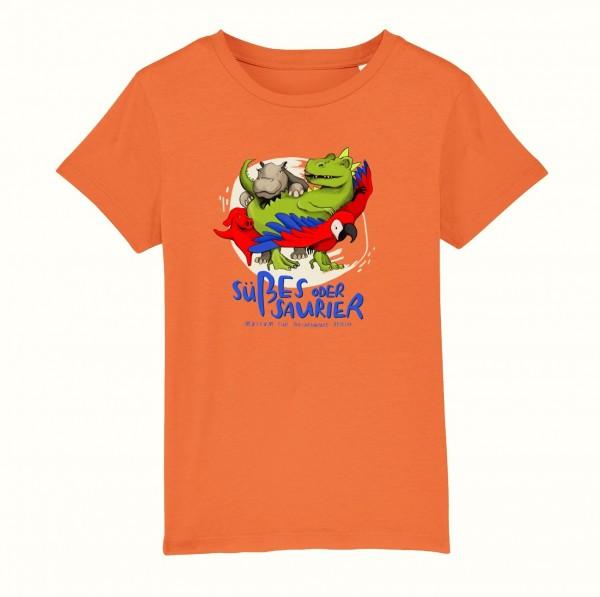 Kinder T-Shirt Süßes oder Saurier orange