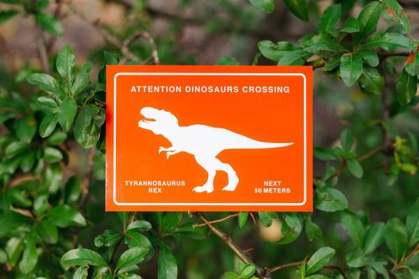 Postkarte Dinosaurier T-Rex Crossing