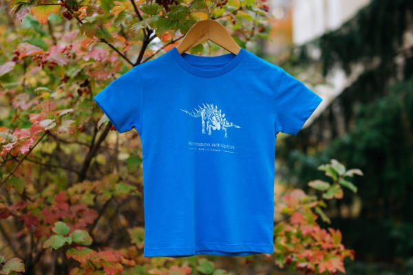 Kinder-Shirt Kentrosaurus Skelett Azurblau